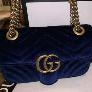 Gucci Marmont Mini Cobalt Blue Velvet Shoulder Bag